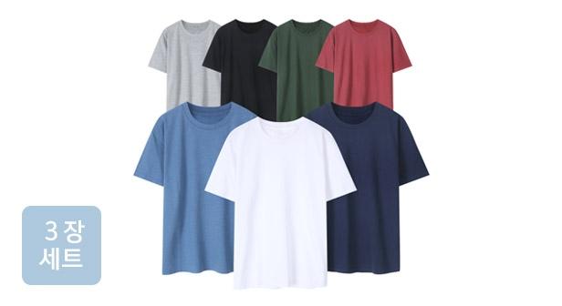 [파라고나] 무료배송 3장세트 남여공용 면 라운드 무지 반팔 티셔츠/나시 12종