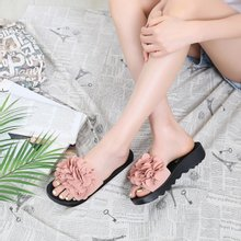 [나즈나]꽃송이 통굽 슬리퍼(4cm)