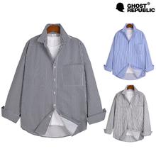 [고스트리퍼블릭] MSH-529 오버핏 스트라이프 포켓 긴팔 셔츠