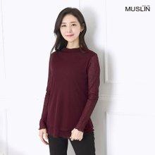 엄마옷 모슬린 하이넥 이중 티셔츠 TP907251