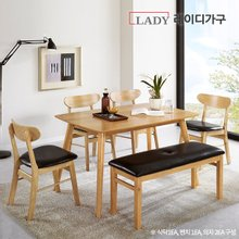 [레이디가구]도브 4인 원목 식탁세트 벤치1+의자2