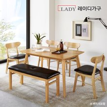 [레이디가구]도브 4인 원목 식탁세트 의자4개