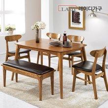 [레이디가구]베라 4인 애쉬 원목 식탁세트 벤치 1개+의자2개