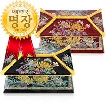 [박씨상방]명품 나전 금장 국화기와 명함함(대한민국 명장 김용관작품)/선물로좋은나전칠기