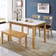 [레이디가구]아모르 4인 대리석 식탁세트 벤치1+의자2