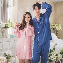 [쿠비카]쉐도우 샤틴 샤무즈 커플 원피스 잠옷 WM072
