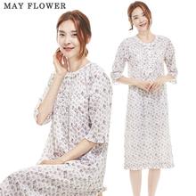 [May Flower] 국내자체제작 여성잠옷 순면60수 퍼플플라워 7부소매 원피스 [S/M]