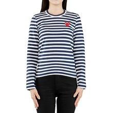 [꼼데가르송] (P1T009 NAVY WHITE) 여성 스트라이프 긴팔 티셔츠 19FW