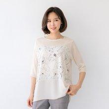 마담4060 엄마옷 이끌림플라워티셔츠 QTE904030