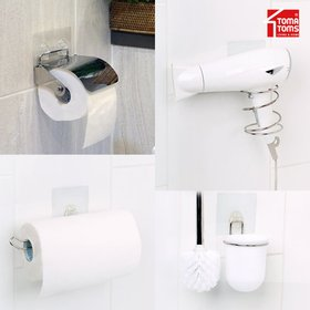 [토마톰스] [균일가][토마토스] 슈퍼스틱 욕실용품 흡착선반 모음전(수건/휴지걸이,드라이기홀더)