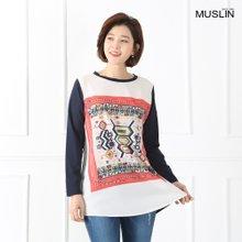 엄마옷 모슬린 에스닉 배색 컬러 티셔츠 TS902077