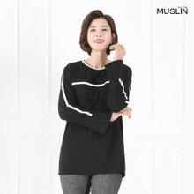 엄마옷 모슬린 유니크라인 진주 티셔츠 TS902069