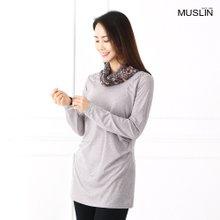 엄마옷 모슬린 나염 비즈 셔링 티셔츠 TP902019