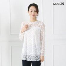 엄마옷 모슬린 쉬폰 레이스 폴라 티셔츠 TP902031