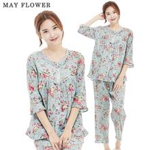 [May Flower] 국내자체제작 여성잠옷 순면60수 민트장미 7부소매 상하세트 [S/M/L]