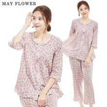 [May Flower] 국내자체제작 여성잠옷 순면60수 빨간잔꽃 7부소매 상하세트 [S/M/L]