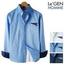 르젠 배색삼각버튼 슬림핏 스판 셔츠(LNSH1300PE)