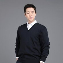 [파파브로]남성 국산 울 긴팔 티셔츠 브이넥 가디건 니트 JP-NTV9-네이비