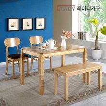 [레이디가구]제이스 4인 원목 식탁세트_의자2+벤치형