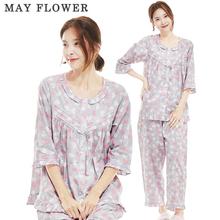 [May Flower] 국내자체제작 여성잠옷 순면40수 러블리하트 7부소매 상하세트 [M/L]