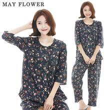 [May Flower] 국내자체제작 여성잠옷 순면60수  로즈네이비 7부소매 상하세트 [S/M/L]