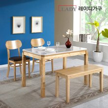 [레이디가구]제이스 4인 대리석 원목 식탁세트_의자2+벤치형