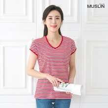 엄마옷 모슬린 브이넥 단가라 티셔츠 TS005304