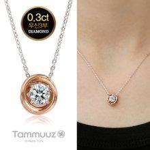 [타뮤즈] 14K 우신 3부 다이아몬드-아델라-D2018N-콤비골드-목걸이-프로포즈