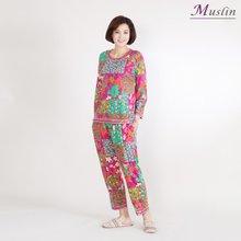 사각플라워 상하세트홈웨어 -HS1065- 모슬린 엄마옷