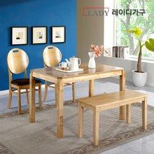 [레이디가구]헤바 4인 원목 식탁세트_의자2+벤치형
