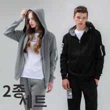 [1+1] 후드집업+긴팔티셔츠 남녀공용 데일리아이템 M-XXL