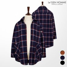르젠 더블라인 사각체크 오버핏 셔츠자켓(LNJK947TO)