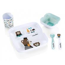 [베이비무브] 러블리유아식기 5P SET 식판+국그릇+컵+스푼+포크 곰돌이디자인 고급스러운선물용 포장박스