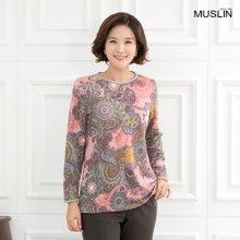 엄마옷 모슬린 페이즐리 기모 라운드 티셔츠 TS910204