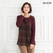 엄마옷 모슬린 체크무늬 라운드 티셔츠 TS910218