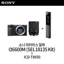 소니 미러리스 알파 A6600M (SEL18135 줌렌즈 킷) + ICD-TX650 보이스레코더 유튜브 패키지