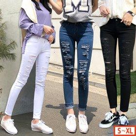 [바잉몰]여성 스판 스타일 디스트로이드진 찢어진 바지