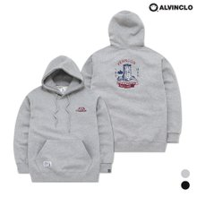 [앨빈클로]AVH-133 우드웍스 자수 루즈핏 기모 후드티셔츠