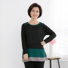 마담4060 엄마옷 컬러배색티셔츠 QTE902013