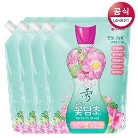 [샤프란] 꽃담초 수 섬유유연제 연꽃 리필 1.3L x4개 자스민 장미 고농축