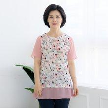 마담4060 엄마옷 줄플라워티셔츠-ZTE005026-