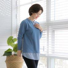 마담4060 엄마옷 단가라배색블라우스 QBL902010