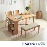 [에몬스홈]러스틱 멀티선반 4인 식탁세트(벤치1+의자2)