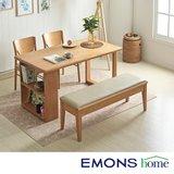 [에몬스홈]러스틱 멀티선반 4인 식탁세트(수납벤치1+의자2)