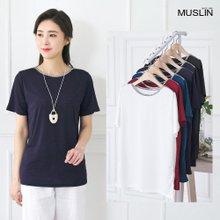 엄마옷 모슬린 실버 배색 라운드 티셔츠 TS005320