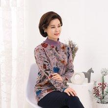 마담4060 엄마옷 플라워주름폴라티셔츠-ZTE912074-