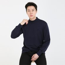 남성 국산 반폴라 가디건 긴팔 울 니트 VIP-HN-네이비