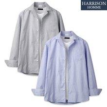 [해리슨] 563 스트라이프 오픈 카라 셔츠 JIM1128