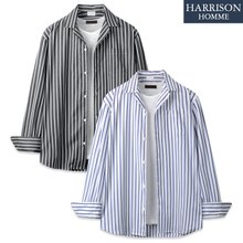 [해리슨] 566 스트라이프 오픈 카라 셔츠 JIM1130