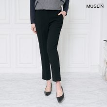 엄마옷 모슬린 기모 슬릿 블랙 밴딩 팬츠 PN910111